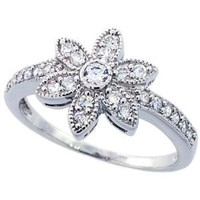 Sterling Silver Vintage Style Flower Ring 12mm ( Size 6 to 9)