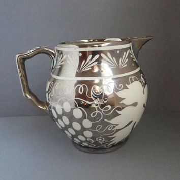 Gray's Pottery Silver Luster Pitcher, Vintage English Creamer, Collectors Hand Painted British Pottery