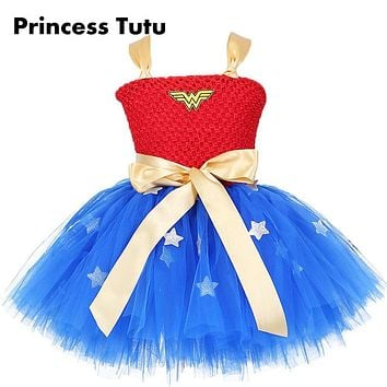 Wonder Woman Superman Girl Birthday Party Tutu Dress Baby Kids Batman Cosplay Holidays Tutu Dresses Girls Halloween Custom