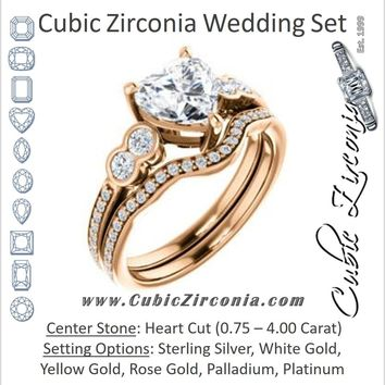 CZ Wedding Set, featuring The Eneroya engagement ring (Customizable Enhanced 5-stone Heart Cut Design with Thin Pavé Band)