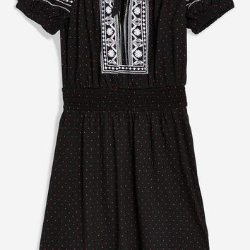 PETITE Embroidered Spot Bardot Dress
