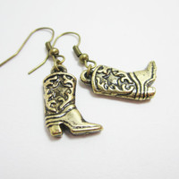 Light Acrylic Cowboy Boot Charm Earrings
