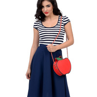 Navy & White Striped Keyhole Mindy Top