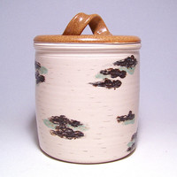 Birch Bark Lidded Large Crock  Pottery Jar Limited Series 62(wide)