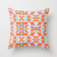 Summer Tangerine Creamsicle Pattern Throw Pillow by K_c_s
