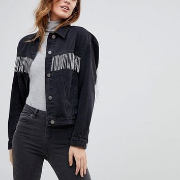 ASOS DESIGN denim jacket in washed black with beaded fringing at asos.com