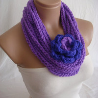 Crocheted Scarf, Infinity Rope Scarf, Chain Scarf (Lilac) by Arzu's Style