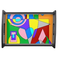 Retro Colorful Abstract Service Trays