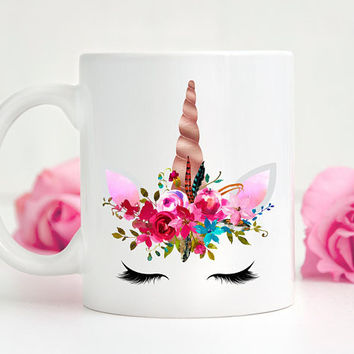 Unicorn Coffee Mug, Ceramic Mug, 11 Or 15 Ounce Mug, Unique Gift Under 20, Gift For Her, Cute Unicorn Mug, Unicorn Horn, Floral Mug