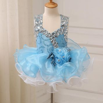 Baby Party Dresses Beaded Stones Cap Sleeve Ruffled Organza Pageant Girl Dresses Cupcake Gowns