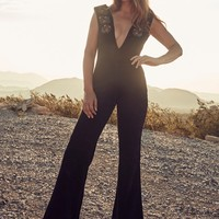 AM x UL Embroidered Suede Ink Jumpsuit