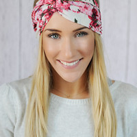 Ivory Floral Turbans Headband with Pink, Ivory, Fuchsia Flower Patterned Stretchy Twist Headband for  Women's Fashion