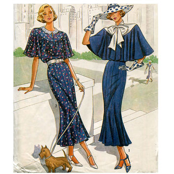 1980s Womens Great Gatsby Downton Abbey Art Deco Day Evening Cocktail Dress Capelet Tie Collar Simplicity 9360 UNCUT Vintage Sewing Patterns