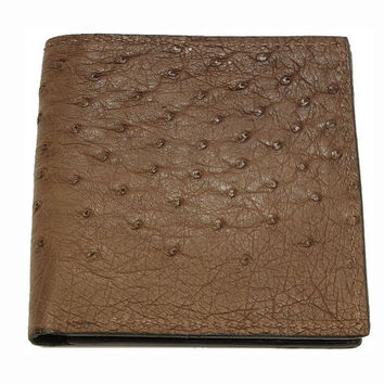 Ostrich Skin Hipster Wallet in Brown - Real Ostrich Hide - Free Shipping to USA