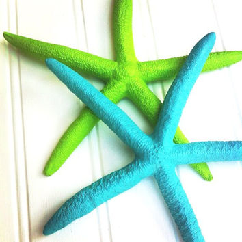 Aqua and Lime starfish set of 2 painted wall decor island tropical beach nautical coastal sea ocean decor wedding destination travel Florida
