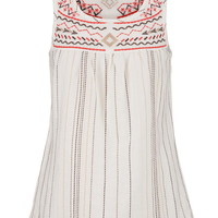 Lightweight Embroidered Swing Tank - Beige