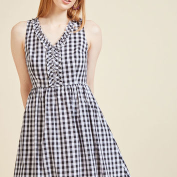 Savor Someplace New A-Line Dress in Gingham
