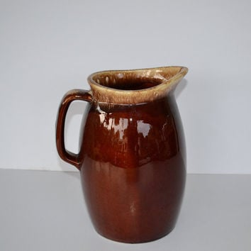 Hull Pottery Pitcher Large Hull Brown Drip by JudysJunktion