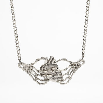Skeleton Hands Heart Pendant Necklace