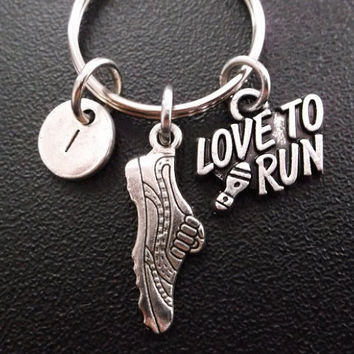 I Love to run theme.....keychain, keyring, bag charm, purse charm, monogram personalized item No.303