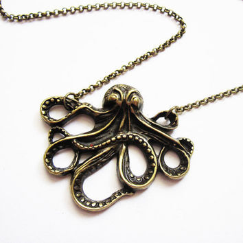 Brass Octopus Necklace, Octopus Jewelry Necklace, Large Octopus Pendant, Big Octopus Necklace, Kraken, cthulhu, squid, octopus necklace