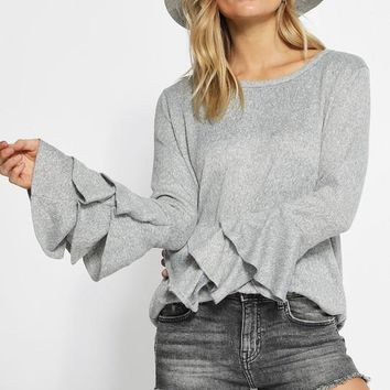 Brushed Hacci Knit Top with Tiered Sleeves - Heather Grey