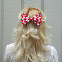 Red and white chevron bow hair clip - big bow - bow barrette - kawaii
