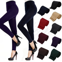 Women's Fashion Casual Warm Faux Velvet Winter Leggins Women Leggings Knitted Thick Slim Fitness Super Elastic Women Pants = 1946836164