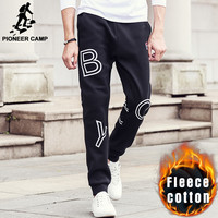 Pioneer Camp Autumn Winter thick hip hop men 100% cotton fleece black sweat jogger 622163