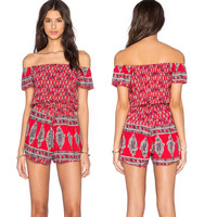 Red Vintage Print Off-the-Shoulder Romper