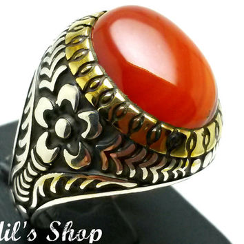 Men's Ring, Turkish Ottoman Style Jewelry, 925 Sterling Silver, Gift, Traditional Handmade, With Agate Stone, US Size 9.5, New