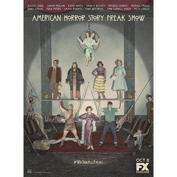 American Horror Story Freakshow poster Metal Sign Wall Art 8in x 12in