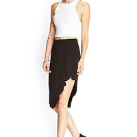 FOREVER 21 Embroidered Knee-Length Skirt