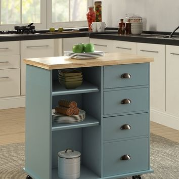 New Century® Wooden Blue Gray Kitchen Island Cart W/ Cabinet & Towel Holder