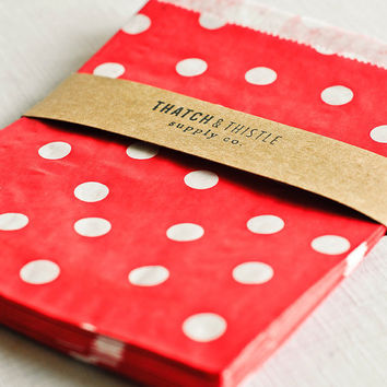 Paper Bags in Red Polka Dots - Set of 20 - 5x7 Party Favor Kraft Gift Wrapping Invitations Packaging Embellishment Sacks Merchandise