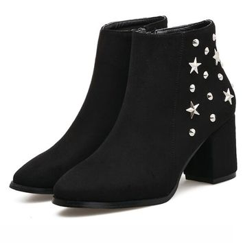 Black Faux Suede Star Stud Embellished Ankle Boots