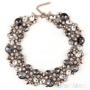 PEAPIX3 New Design Women's Gorgeous Bib Statement Black Mixed Crystal Necklace = 1947009988