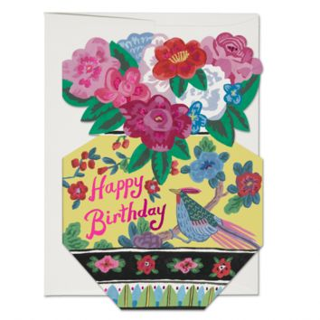 RED CAP CARDS ORNATE FLOWER VASE CARD