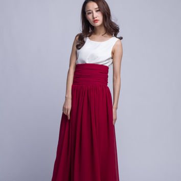 Floor Length Summer Skirt High Waist Maxi Skirts Beautiful Chiffon Long Skirt Pleated Waist Women Skirt (501) ,91#