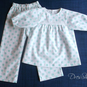 Christmas polka dot pajamas Organic cotton girls sleepwear turquoise on white 4 to 6 years kids night gown