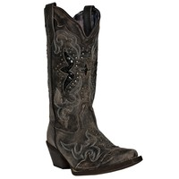 Laredo Womens Black/Tan All Leather Lucretia 13in Snip Toe Cowboy Boots