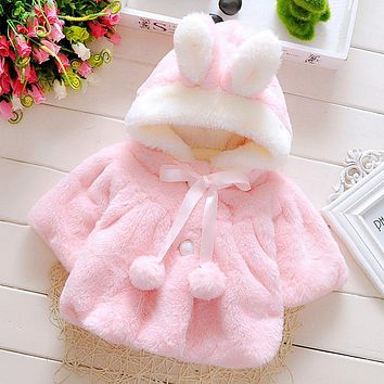 Kids Winter Clothes Baby Girls Coat Children Jacket Outwear Princess Bow Tie Cloak Hooded Cute Girls Rabbit Fur Wool Clothing