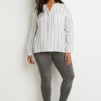 Plus Size Classic Striped Shirt   Forever 21 PLUS - 2000172245