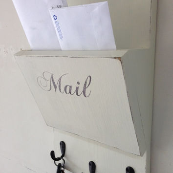 Shabby chic wood hanging  mail organizer and key rack, wall mail sorter and key holder, mail holder antique white