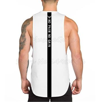 Brand bodybuilding stringer clothing gyms tank top men fitness singlet NO PAIN NO GAIN printed back cotton Vest muscle shirt