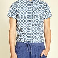 Abstract Printed Shirt White/Blue