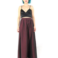 90s High Waisted Formal Maxi Skirt Minimalist Long Prom Skirt Berry Goth Burgundy Red Skirt Floor Length Shiny Metallic Maxi Skirt (L)