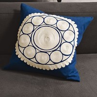 Embroidered Wood-Block Flower Pillow Cover | west elm