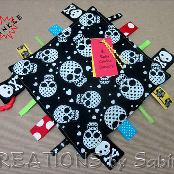 Baby Crinkle Tag Blanket Toy / Ribbon Sensory / Boy / Black White Blue Turquoise / Sugar Skulls Crossbones / Pirate / READY TO SHIP (178)