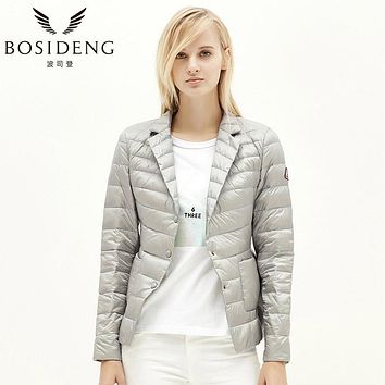 Women thin down coat down jacket ladies's Clothing high quality fall outwear ultra light notched lapel